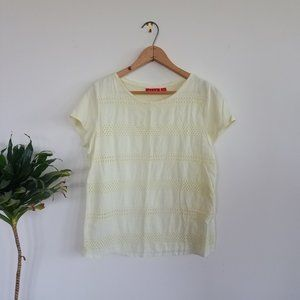 Elle Tops - ☀️ Light yellow delicate embroidered tee